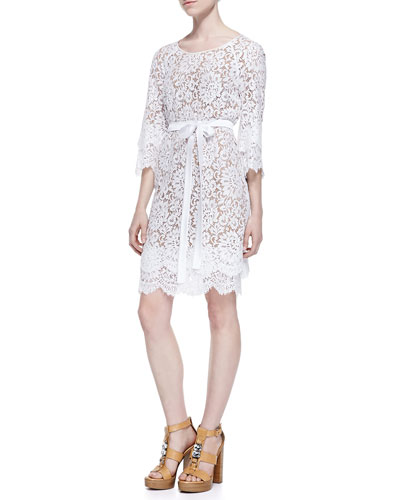 Tie-Waist Scalloped Lace Dress, Optic White
