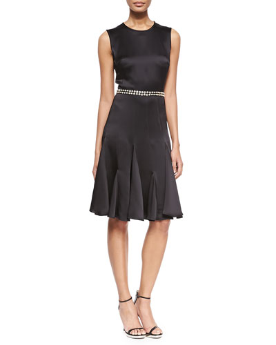 Embroidered-Waist Satin Fit-and-Flare Dress