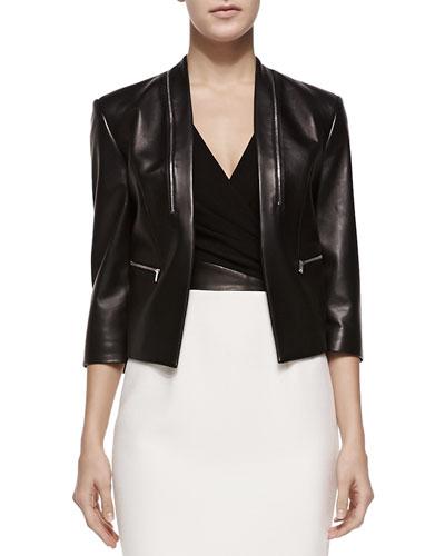 Princess-Seamed Leather Zip Jacket