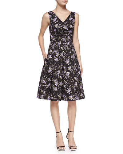 V-Neck Floral Stretch-Cotton Dance Dress
