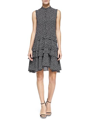 Tiered Ruffle Dress, Black/White