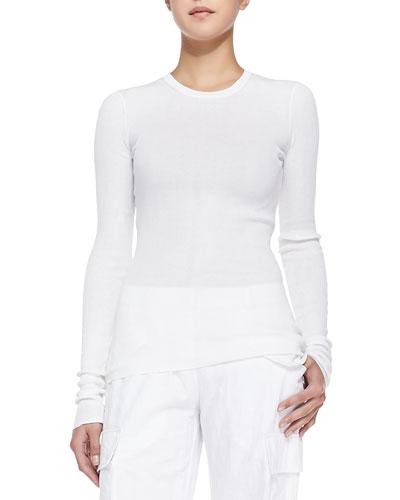 Ribbed Crewneck Sweater, White