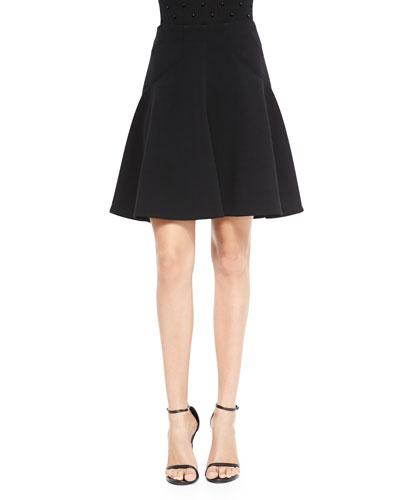 Silk-Trim A-Line Skirt, Black