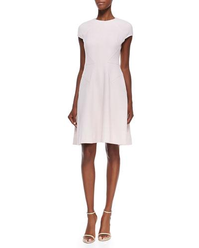 Silk-Trim Cap-Sleeve Dress, Blush