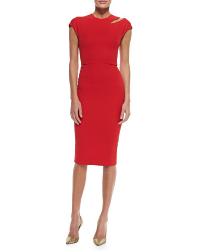 Cap-Sleeve Sheath Dress with Cutout Shoulder