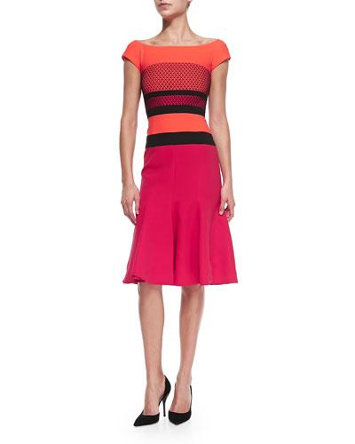 Cap-Sleeve Dress W/ Striped Waist