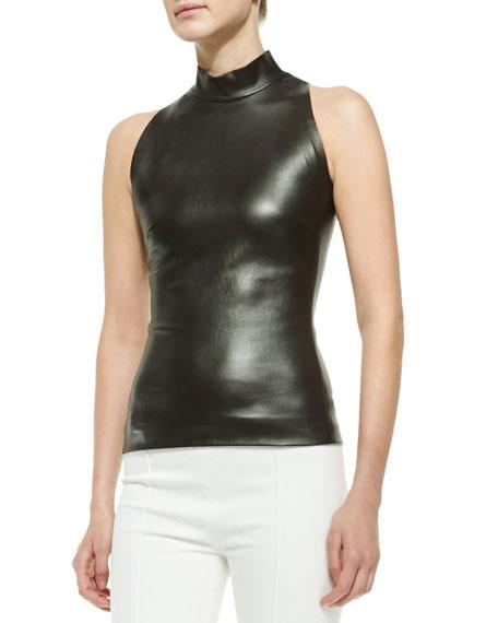9cc3a799 THE ROW Sleeveless Mock-Neck Leather Top