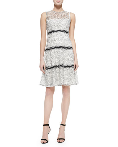 Paneled Floral-Lace Overlay Dress, Ivory