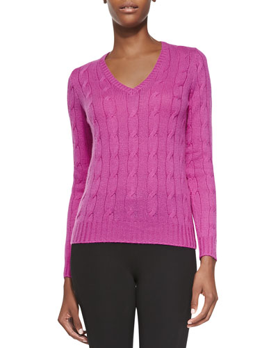 Cashmere Cable-Knit Sweater, Hibiscus