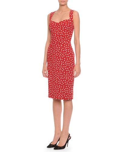 Sweetheart-Neck Polka Dot Dress, Red/White