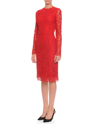 Long-Sleeve Jewel-Neck Lace Dress, Red