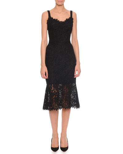 Strappy Lace Dress with Sheer Flounce Hem