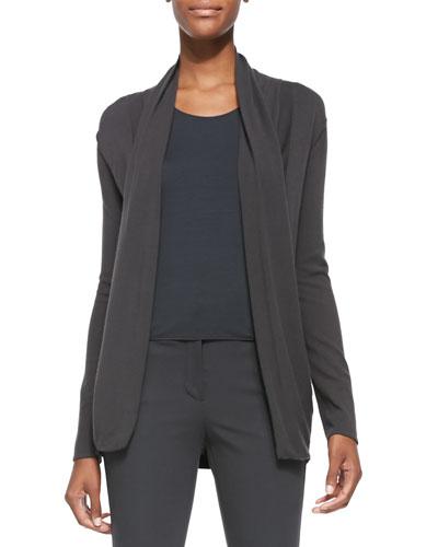 Textured-Knit Draped Cardigan, Slate