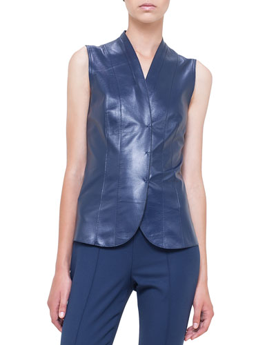 V-Neck Snap-Front Leather Top, Azurite