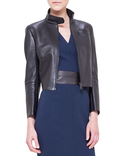 Asymmetric-Cut Back Leather Jacket, Black