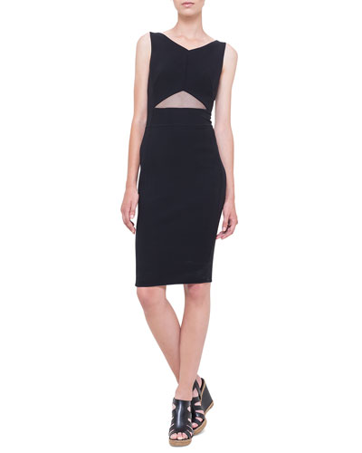 Triangle Tulle Cutout Sheath Dress, Black