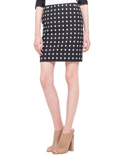 Square Dotted Jacquard Short Skirt, Noir/Creme
