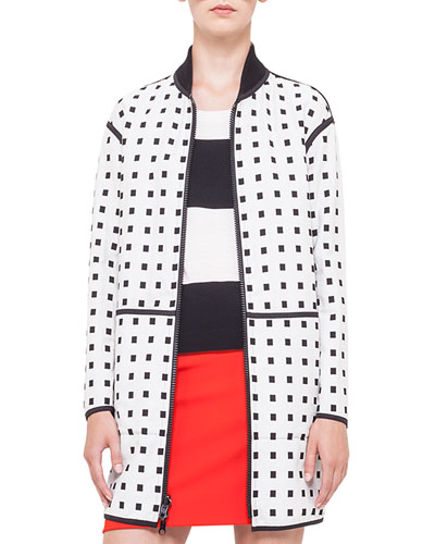 Reversible Square Jacquard Coat, Noir/Creme