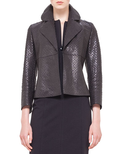 Perforated Napa Leather Jacket, Noir
