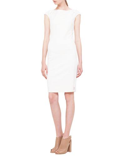 Cap-Sleeve Mesh-Inset Jersey Dress, Creme