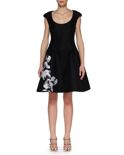 Cap-Sleeve Dress with Orchid Jacquard