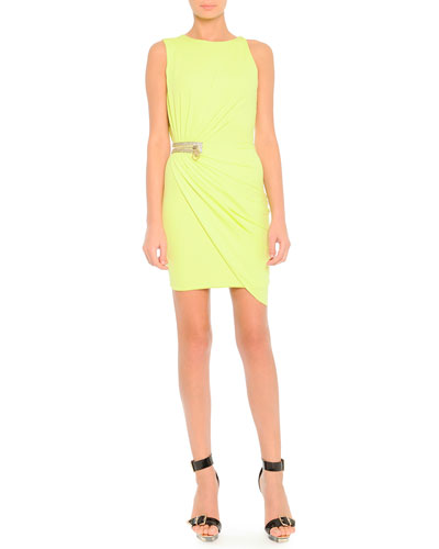 Side-Ruched Crystal Zipper Dress, Citron