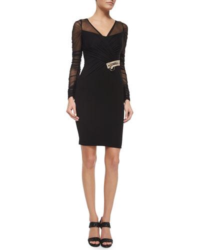 Draped Illusion Overlay Crystal-Embellished Dress, Black