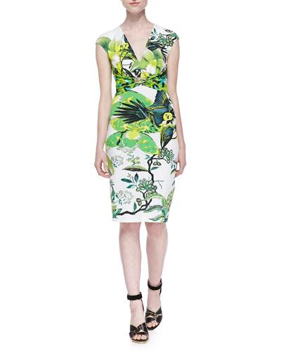 St. Barth-Print Jewelry-Pinned Dress, Verde Lime