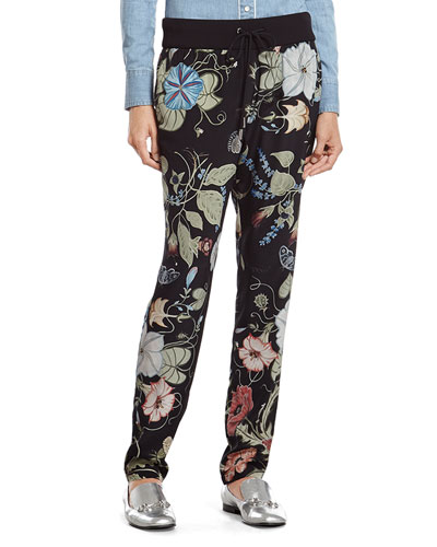 Flora Knight Print Silk Jogging Pant