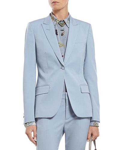 Blue Silk Wool Stretch Drill Jacket