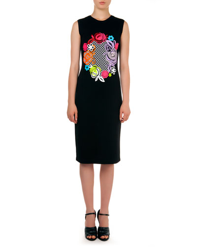 Sleeveless Floral Motif-Print Dress, Black