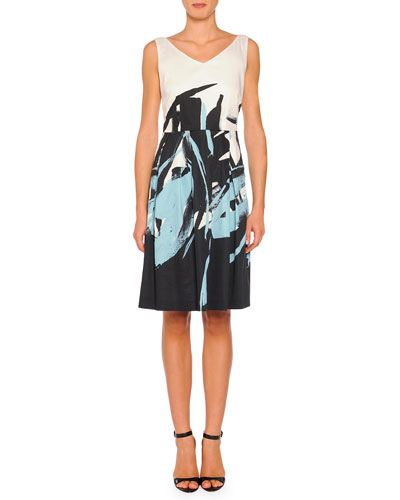 V-Neck Brushstroke-Print A-line Dress, Black Multi