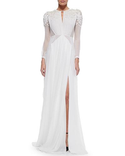 Sequined Sheer-Inset Dress, White
