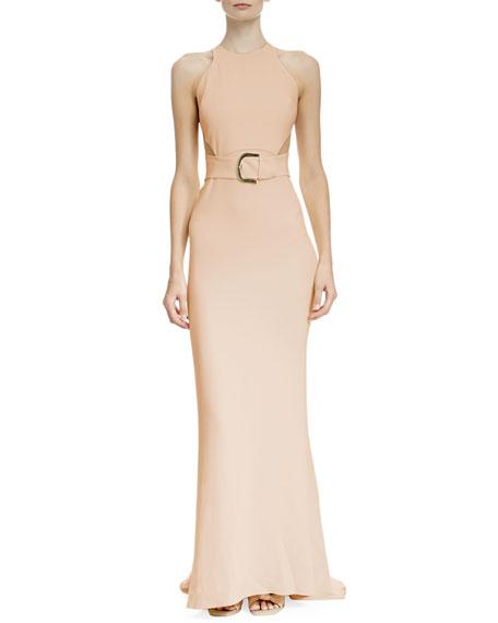 bfcef5c38b Stella McCartney Side-Slit Racerback Belted Gown