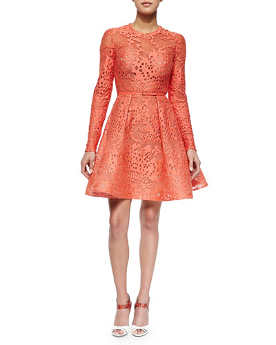 Long-Sleeve Belted Lace Fit-And-Flare Dress, Coral Reef