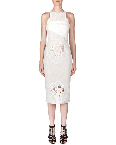 Abersley Laser-Cut Hibiscus Colorblock Dress, White/Black