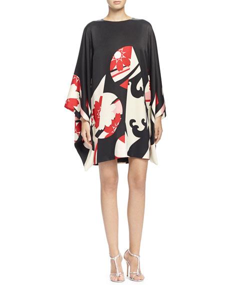 d1859a95ca0a Alexander McQueen Abstract Floral-Print Kimono-Sleeve Dress,