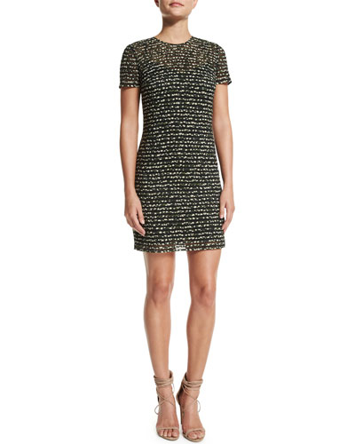 Micro Floral-Print Dress, Forest Green