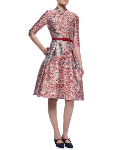 Dot Sphere-Print Fit-And-Flare Shirtdress