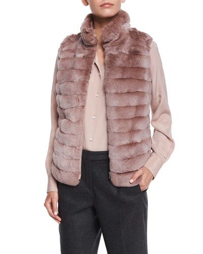 Zip-Front Chinchilla Fur Combo Vest