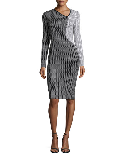 Nassau Long-Sleeve Fitted Dress, Black/White