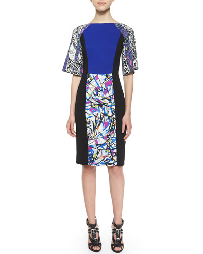 Kimono-Sleeve Paisley Sheath Dress