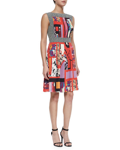 Mixed-Print Accordion-Pleated Dress