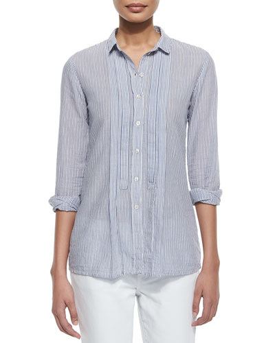 Striped Pleated-Front Shirt