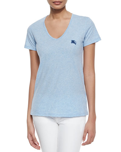 Basic V-Neck Tee, Light Blue