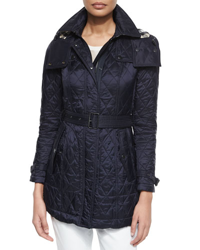 Finsbridge Technical Quilted Trench Parka, Navy