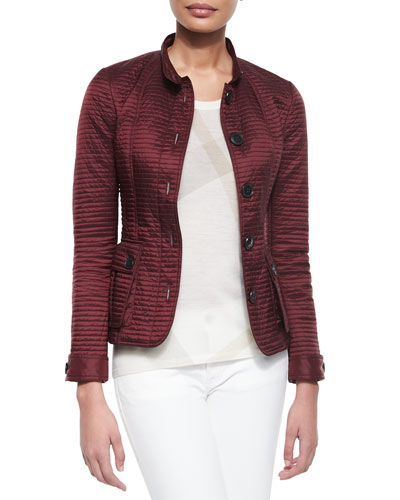 Multichannel Quilted Coat, Burgundy