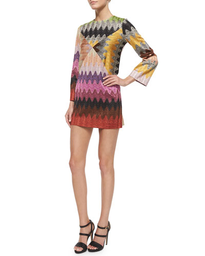 Shimmer Zigzag Knit Boxy Mini Dress