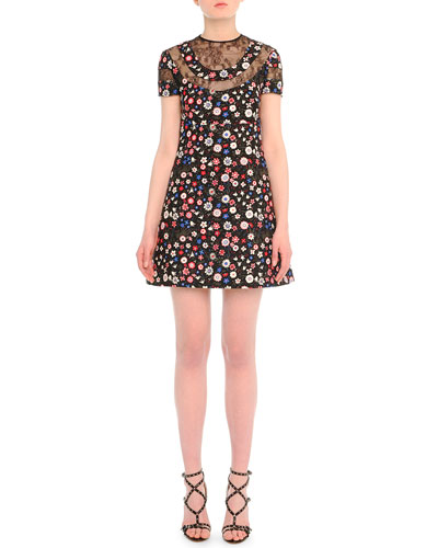 Lace-Inset Floral-Print Babydoll Dress