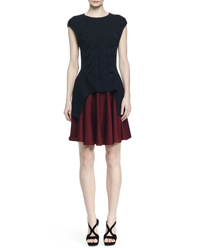 Colorblock Cable-Knit Layered Dress